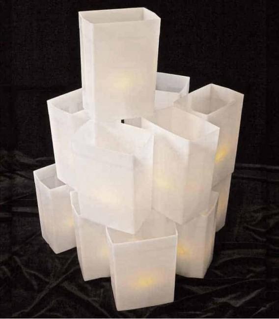 Set of 12 White Luminaries