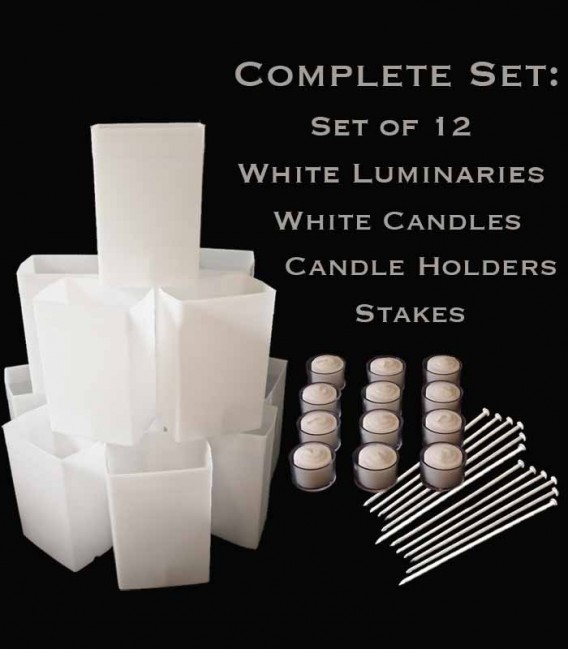 Set of 12 White Luminaries, White Candles & Holders, Stakes