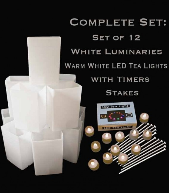 Set of 12 White Luminaries, Warm White LED Tea Lights with Timers, Stakes