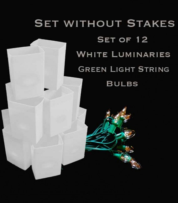 Set of 12 White Luminaries, Green Light String with Bulbs, NO Stakes