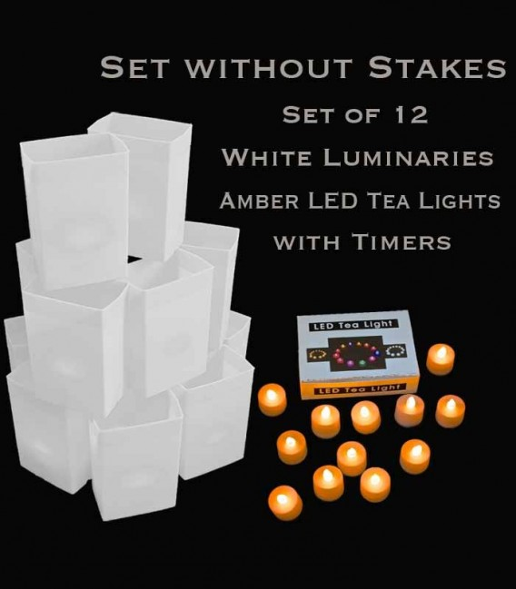 Set of 12 White Luminaries, Amber LED Tea Lights with Timers, NO Stakes