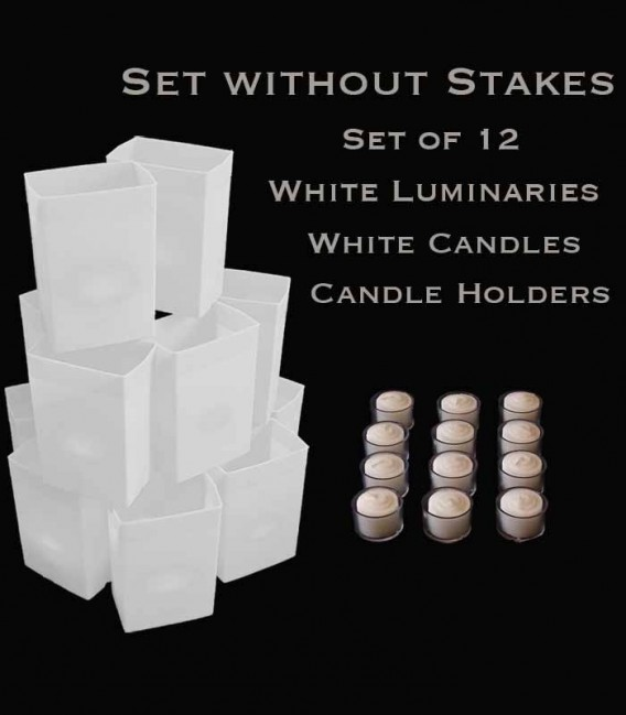 Set of 12 White Luminaries, White Candles & Holders, NO Stakes
