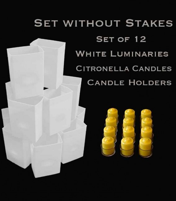 Set of 12 White Luminaries, Citronella Candles & Holders, NO Stakes