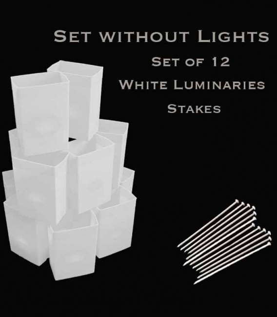 Set of 12 White Luminaries, No Light Source, Stakes