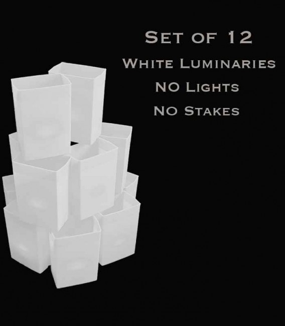 Set of 12 White Luminaries, No Light Source, No Stakes