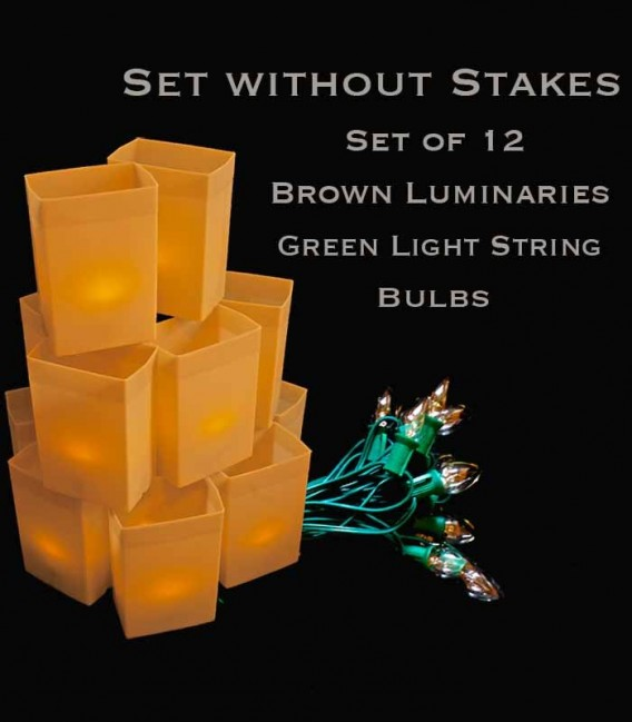 Set of 12 Brown Luminaries, Green Light String with Bulbs, No Stakes