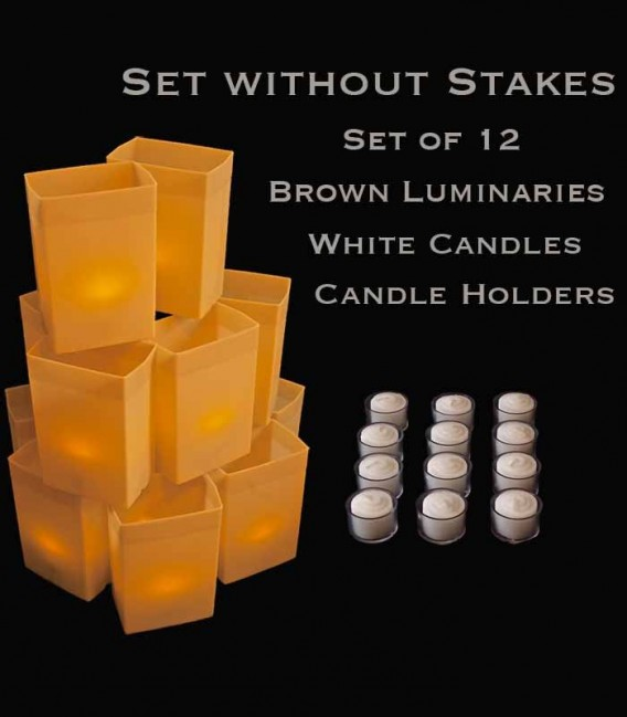 Set of 12 Brown Luminaries, White Candles & Holders, No Stakes