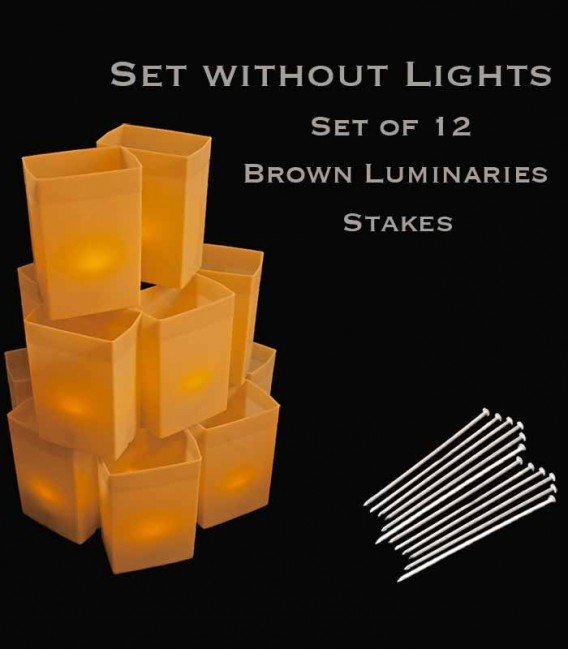 Set of 12 Brown Luminaries, No Light Source,  Stakes