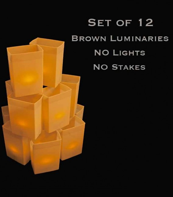 Set of 12 Brown Luminaries, No Light Source,  No Stakes