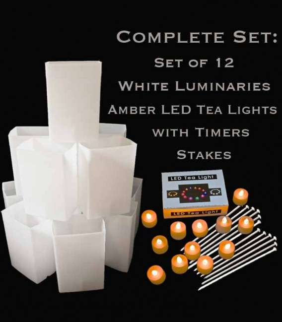 Set of 12 White Luminaries, Amber LED Tea Lights with Timers, Stakes