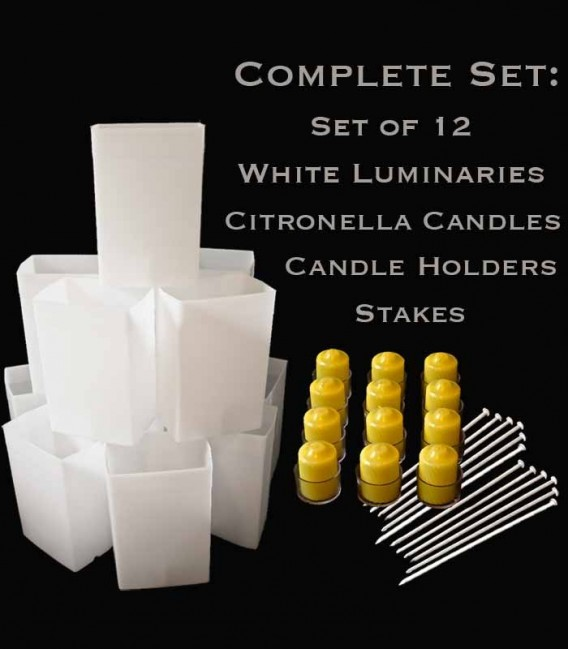 Set of 12 White Luminaries, Citronella Candles & Holders, Stakes