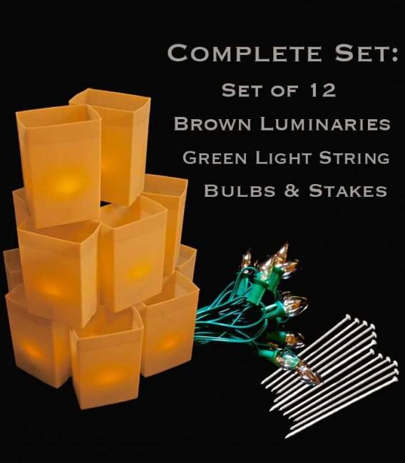 Set of 12 Brown Luminaries, Green String & Bulbs, Stakes