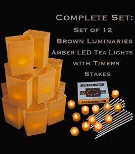 Set of 12 Brown Luminaries, Amber LED Tea Lights with Timers, Stakes