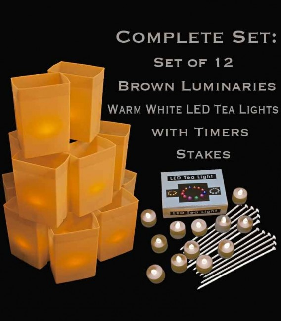 Set of 12 Brown Luminaries, Warm White LED Tea Lights with Timers, Stakes