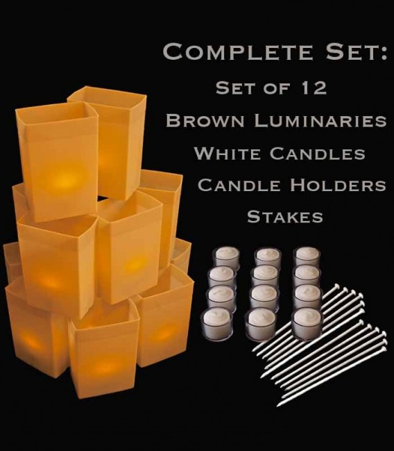 Set of 12 Brown Luminaries, White Candles & Holders, Stakes