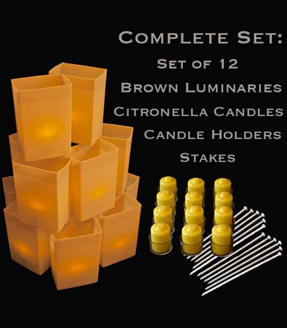 Set of 12 Brown Luminaries, Citronella Candles & Holders, Stakes