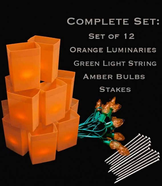 Set of 12 Orange Luminaries, Green Light String, Amber Bulbs, Stakes