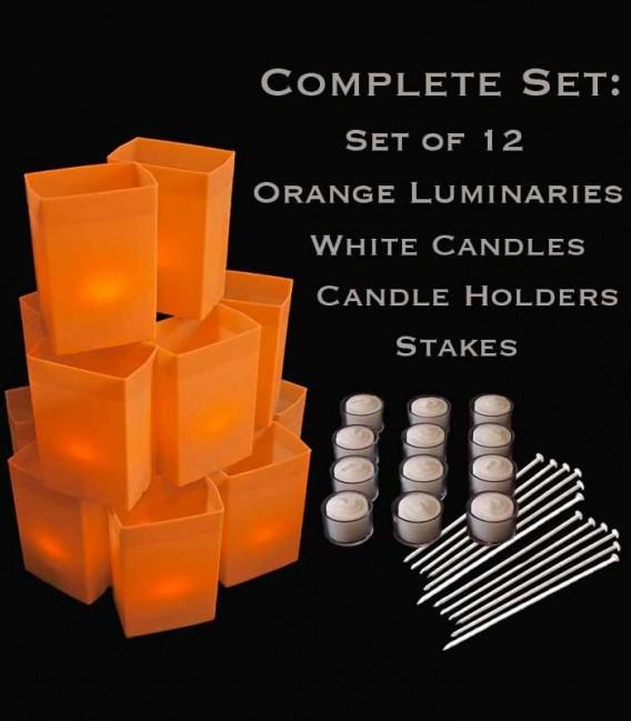 Set of 12 Orange Luminaries, White Candles & Holders, Stakes