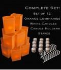 Set of 12 Orange Luminaries, Candles, Holders & Stakes
