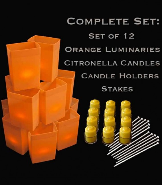 Set of 12 Orange Luminaries, Citronella Candles & Holders, Stakes