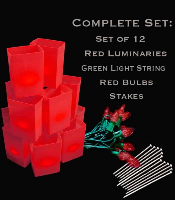 Set of 12 Red Luminaries, Green Light String, Red Bulbs & Stakes