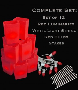 Set of 12 Red Luminaries, White Light String, Red Bulbs & Stakes