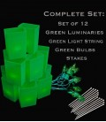 Set of 12 Green Luminaries, Light String, Green Bulbs, Stakes
