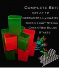 Set of 12 Red/Green Luminaries, Light String, Red/Green Bulbs & Stakes