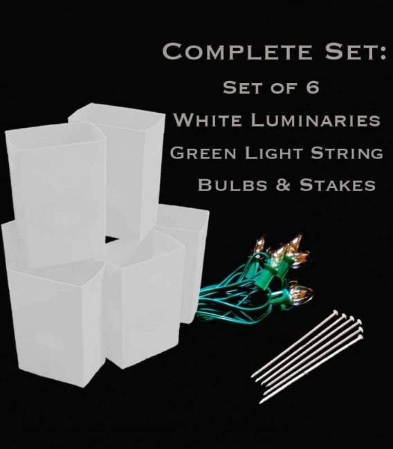 Set of 6 White Luminaries, Green Light String, Bulbs & Stakes