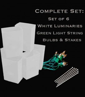 Set of 6 White Luminaries, Light String, Bulbs & Stakes