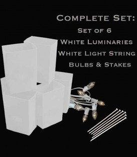 Set of 6 White Luminaries, White Light String, Bulbs & Stakes
