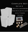 Set of 6 White Luminaries, LED Tea Lights w/ Timers & Stakes