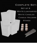 Set of 6 White Luminaries, Candles, Holders & Stakes