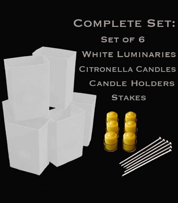 Set of 6 White Luminaries, Citronella Candles, Holders & Stakes