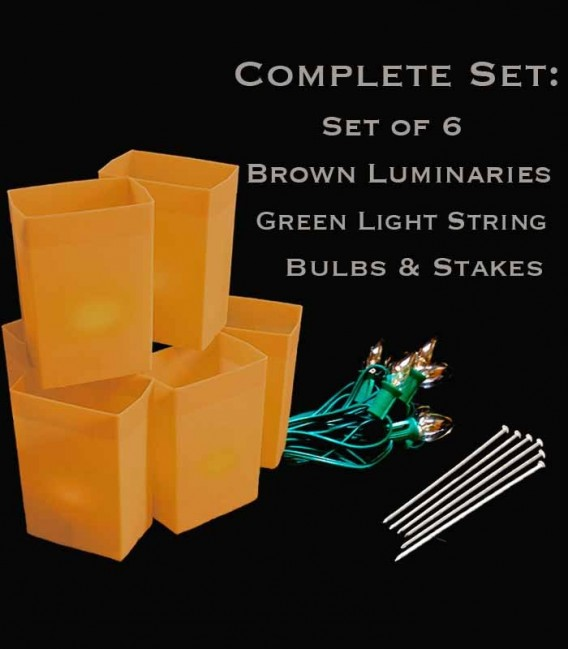 Set of 6 Brown Luminaries, Green Light String, Bulbs & Stakes