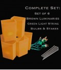 Set of 6 Brown Luminaries, Light String, Bulbs & Stakes