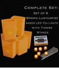 Set of 6 Brown Luminaries, LED Tea Lights w/ Timers & Stakes