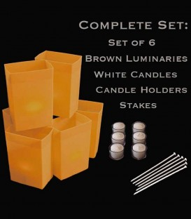 Set of 6 Brown Luminaries, Candles, Holders & Stakes