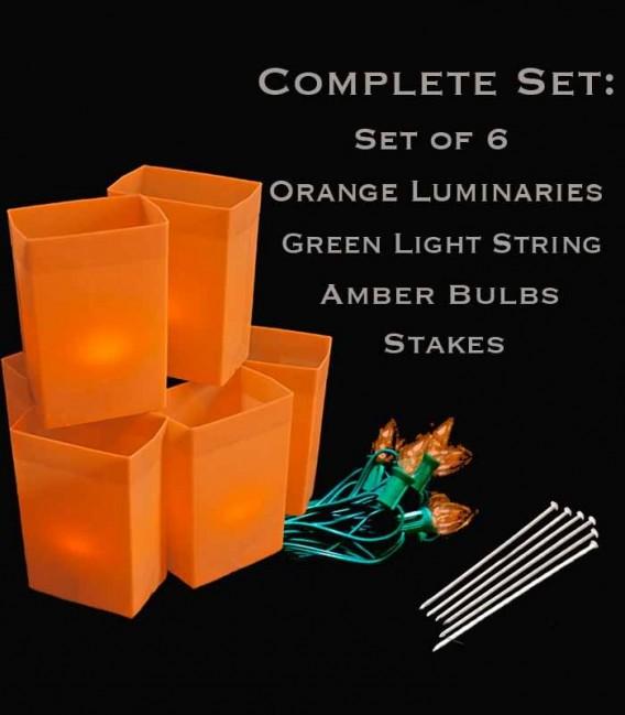 Set of 6 Orange Luminaries, Green Light String, Amber Bulbs & Stakes