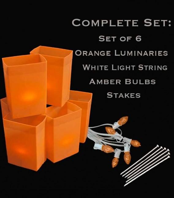 Set of 6 Orange Luminaries, White Light String, Amber Bulbs & Stakes