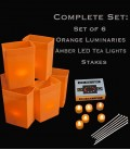 Set of 6 Orange Luminaries, LED Tea Lights w/ Timers & Stakes