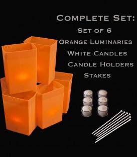 Set of 6 Orange Luminaries, Candles, Holders & Stakes