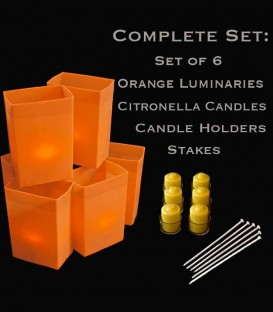 Set of 6 Orange Luminaries, Citronella Candles, Holders & Stakes