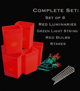 Set of 6 Red Luminaries, Light String, Red Bulbs & Stakes