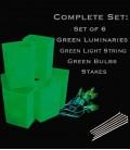 Set of 6 Green Luminaries, Light String, Green Bulbs, Stakes