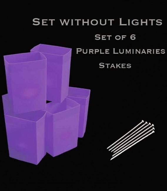 Set of 6 Purple Luminaries, No Lights, Stakes