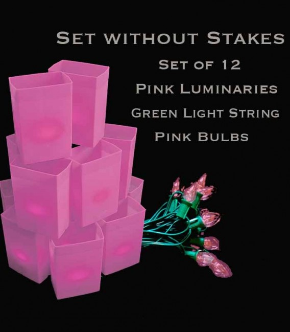 Set of 12 Pink Luminaries, Green Light Strings with Pink Bulbs, No Stakes