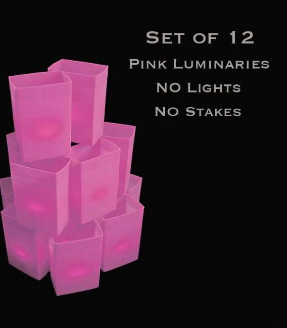 Set of 12 Pink Luminaries, No Lights, No Stakes