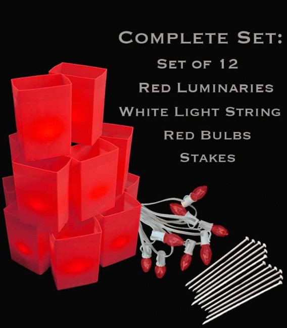 Set of 12 Red Luminaries, White Light String, Red/Green Bulbs & Stakes