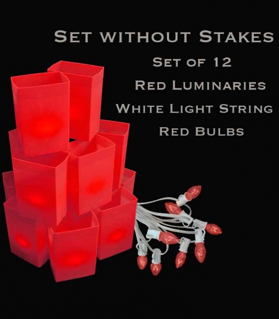 Set of 12 Red Luminaries, White Light String, Red/Green Bulbs, No Stakes